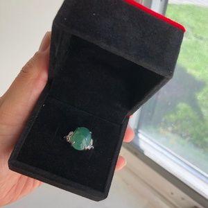 Authentic Myanmar Jade women rings 925 sliver